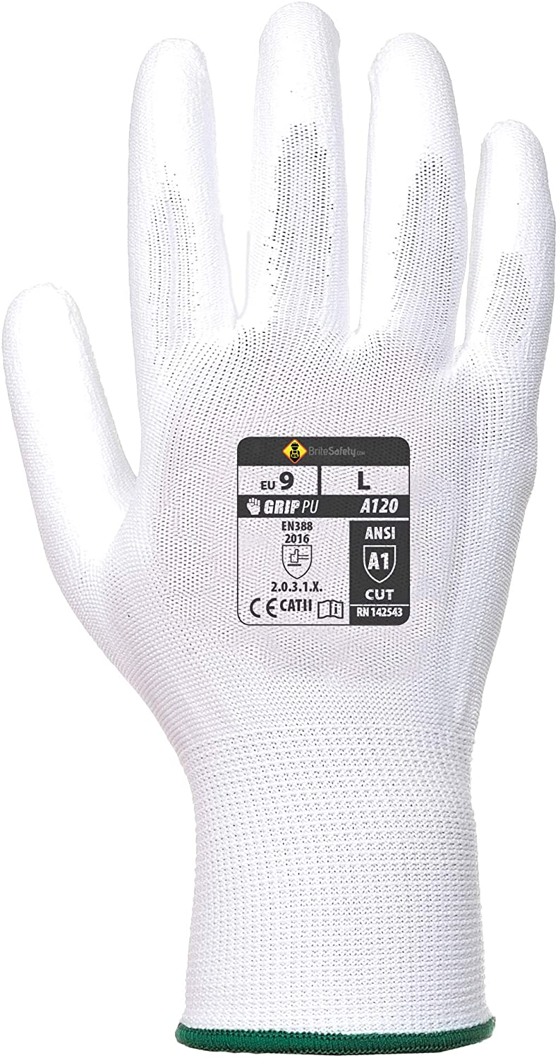 PU Palm Gloves - Work Glove for Men and Women (Extra Large, White, 12 Pairs)