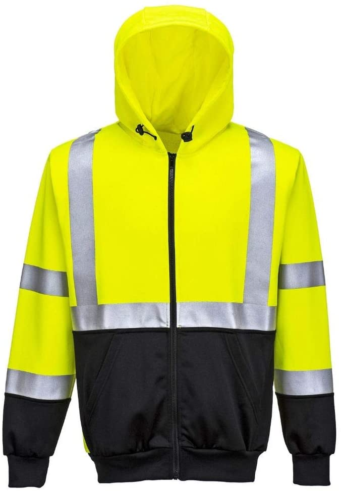 Brite Safety Hi Vis Two-Tone Zipped Hoodie - ANSI 8 Compliant High Visibility Jacket Safety Jackets for Men and Women (Yellow,4XL)