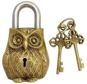 Brass Padlock - Lock with Keys - Working Functional - Brass Made - Type : (OWL - Brass Finish)