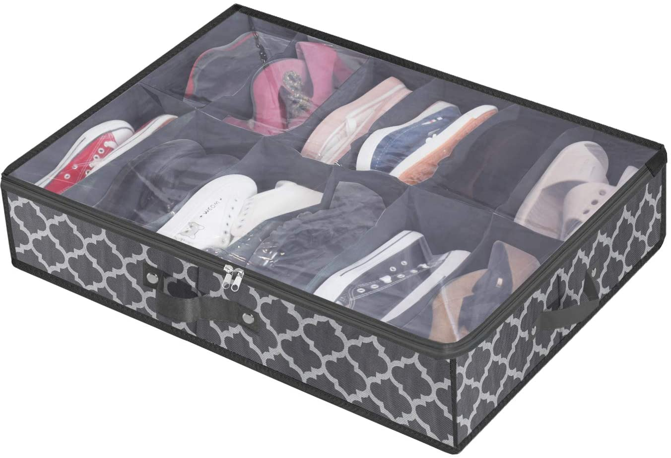 Shoe Organizer Under Bed, Shoes Storage Containers Box (Fit 12 Pairs) with Sturdy and Breathable Materials for Sneakers,Clothes, Toys, Great Space Saver for Your Closet, Gray with Lantern Pattern