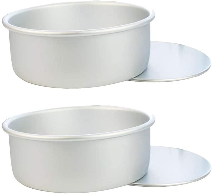 UPKOCH 2pcs Aluminum Round Bottom Cake Mold Anode Live Bottom Pie Pan Mini Cake Baking Tray Removable Bakeware Dish Base Cake Tools (Silver)