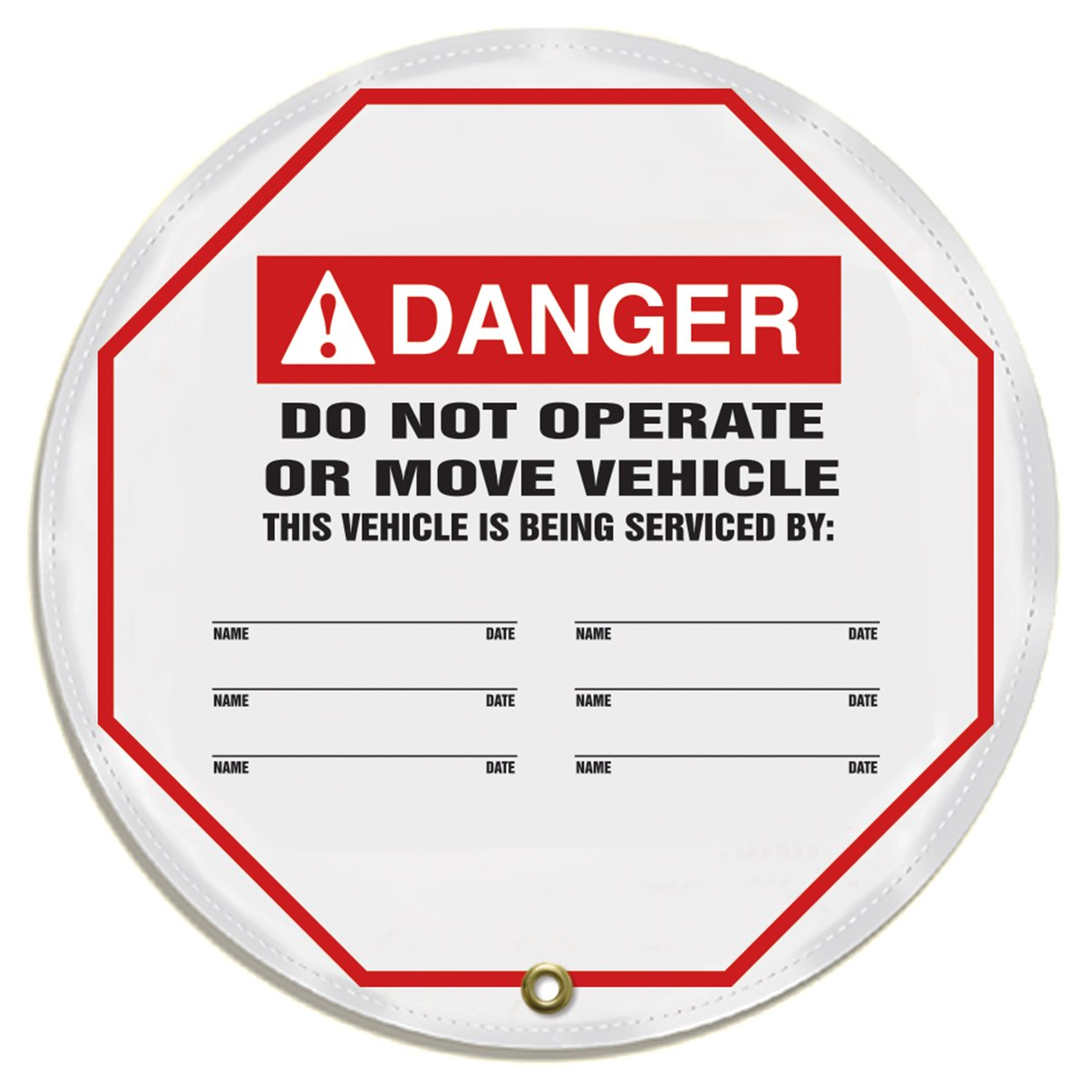 Accuform KDD718 STOPOUT Vinyl Steering Wheel Message Cover, ANSI-Style LegendDanger DO NOT Operate OR Move Vehicle - This Vehicle is Being SERVICED by:, 16, Red/Black on White