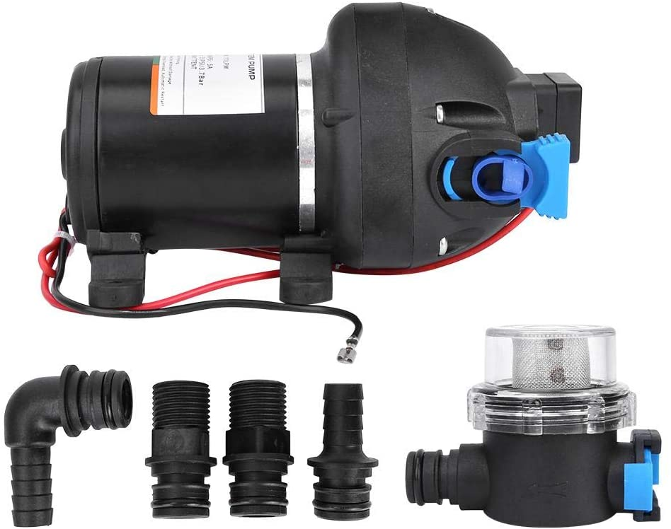 Diaphragm Water Pump, 12V 2.9 GPM Three Chamber Silent Diaphragm Water Pump for Boat Marine Caravan RV