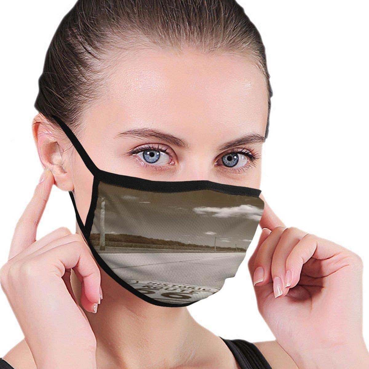 Doumku Mouth Cover Route 66 Shield Old Picture Dust Breathable Reusable Ear Loop Mouth Protection Cover For Men Women
