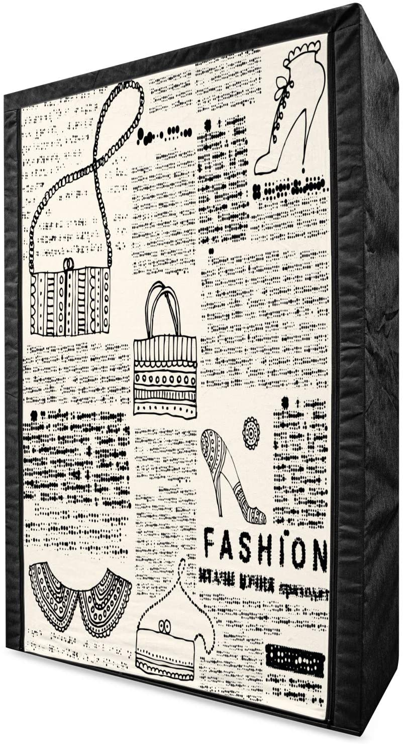 Lunarable Old Newspaper Portable Fabric Wardrobe, Vintage Fashion Themed Shoes Handbag Purses with Ornate Details Retro, Clothing Organizer and Storage Closet with Shelves, 42.5