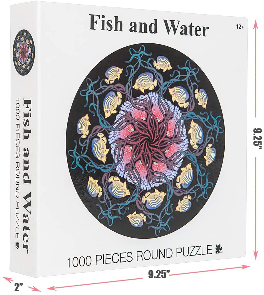 HICCUPfish Puzzle-Fish and Water- 1000 Pieces Dazzling Round Jigsaw Puzzles