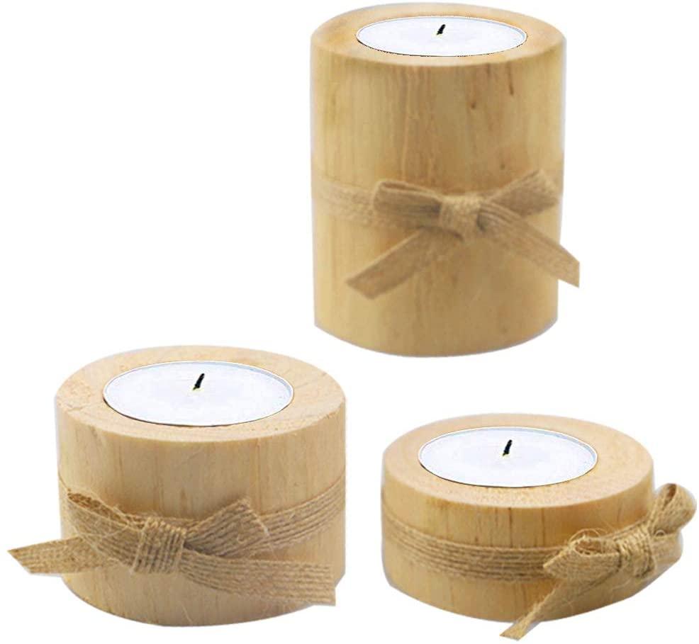 Ahn'Qiraj Tea Light Candle Holders Wooden Stump Candle Holder Wooden Tea Light Candle Holders Succulent Planter Set Holds 3 Tea Lights, Party, Birthday, Holiday Decoration (3 Packs)