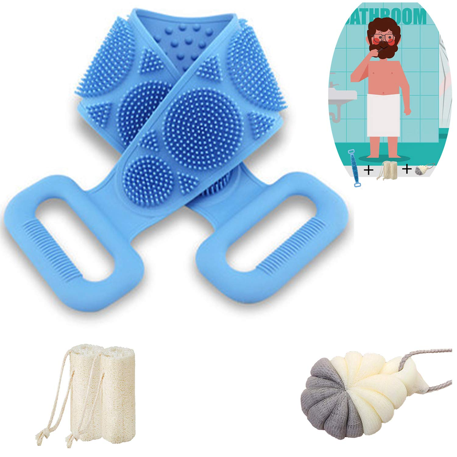 ZGDHHZDX Silicone Loofash, Family Pack Exfoliation Sponge Body Scrubbers for Use in Shower, Reusable Soft Bristles Back Scrubber with Long Handle Silicone Body Brush Deep Clean for Women Man (Blue)