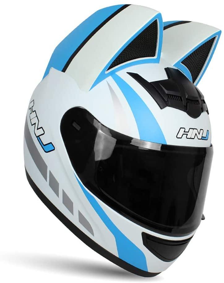 XQY Women Full Face Motorcycle Helmets with Cat Ears Adult Flip up Visors Motocross Helmet Motorbike Crash Modular Helmet Lightweight Design DOT Certified,L
