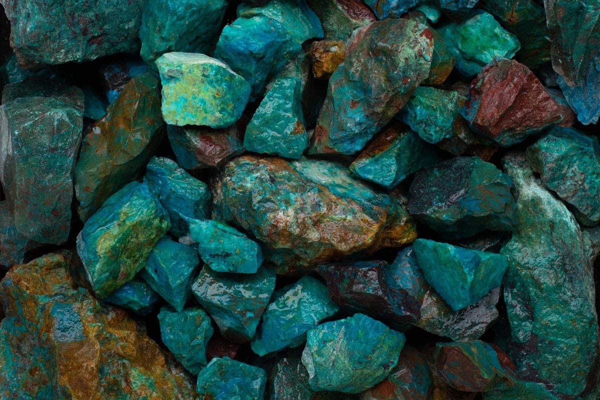 Fantasia Materials: 55 lbs Wholesale Lot of Natural Chrysocolla Rough Stones from Peru