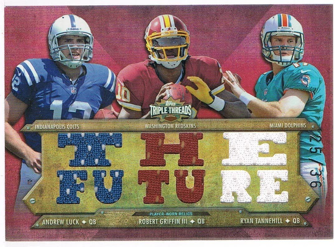 2012 Topps Triple Threads Relic Combos Jersey #TTRC1 Ryan Tannehill/Robert Griffin III/Andrew Luck #d 25/36 RC Rookie