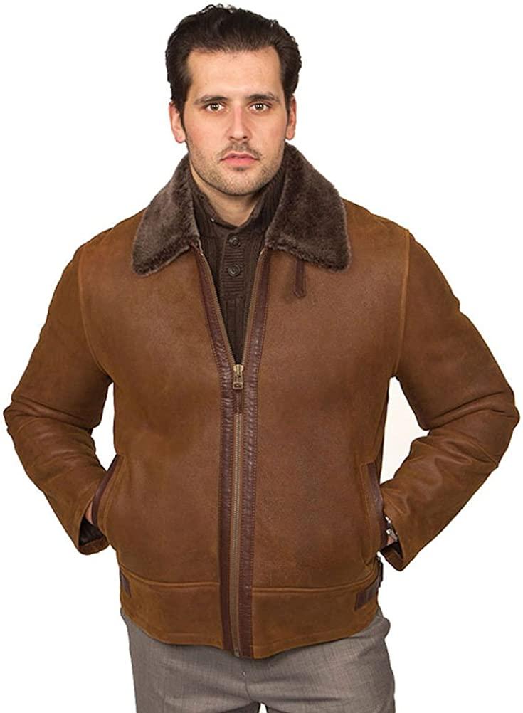 Aston Leather Mens Tribeca Shearling Jacket Rugged Whiskey