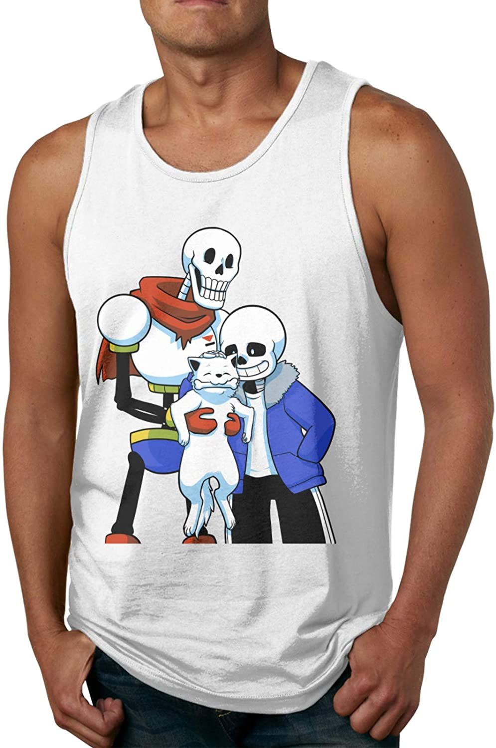 Mens Undertale San and Papyrus Graphic Summer Sleeveless Tank Tops Vest Shirts for Casual Workout Holiday