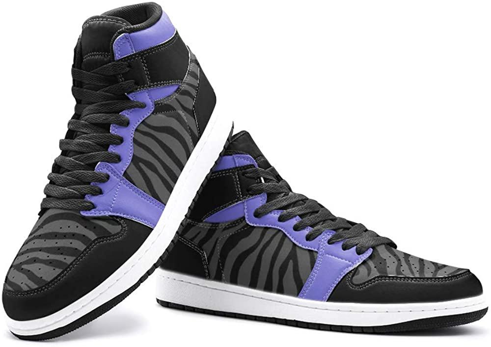Elliz Women's Zebra Print Unisex Retro Basketball Sneakers - Animal Print Running, Sport Athletic Shoes (Purple/Grey, Numeric_6)