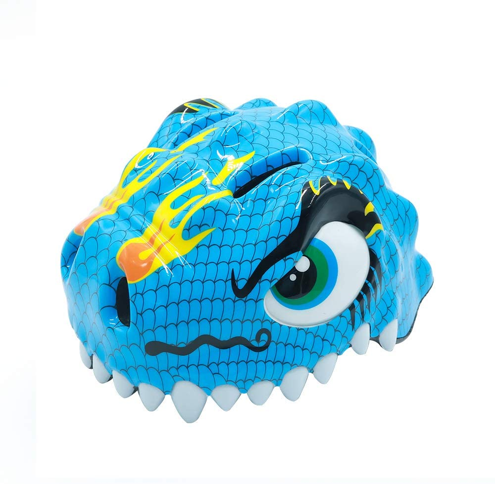 Kid Safety Helmet with Warning Light Adjusted Belt 3D Cartoon Crocodile for Bike Protective Gear Rollerblading Inlineskating Cycling Balance Use Children Youth Girls Boys Toddler 3-8, Blue