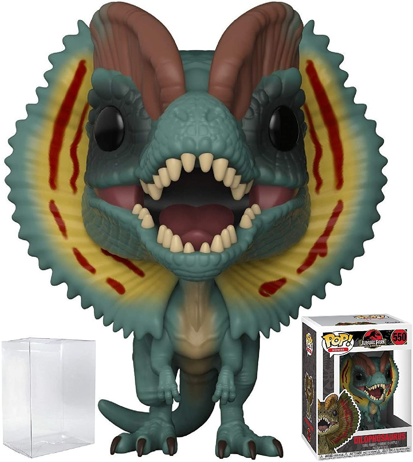 Funko Pop! Movies: Jurassic Park - Dilophosaurus Frill Open Vinyl Figure (Bundled with Pop Box Protector Case)