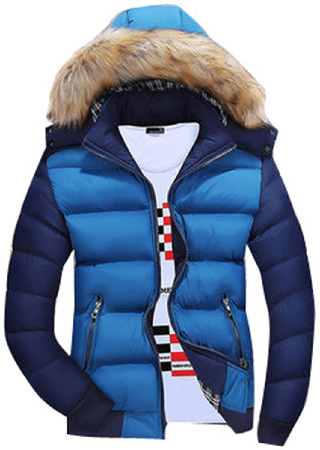 Mens Puffer Jacket Warm Winter Coat Windproof Thickened Outerwear with Fur Hood Overcoat