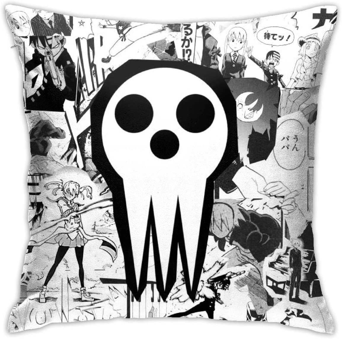 NanZYang Soul Eater Poster Pillows Cases Covers Decorative Home Sofa Bed Standard Square Throw Pillowcase Protectors Zipper 18x18 Inches