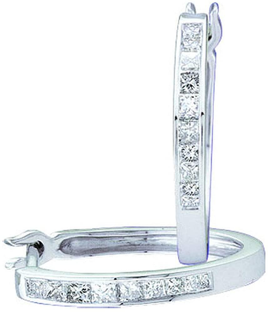 The Diamond Deal 14kt White Gold Womens Princess Diamond Slender Hoop Earrings 1/3 Cttw