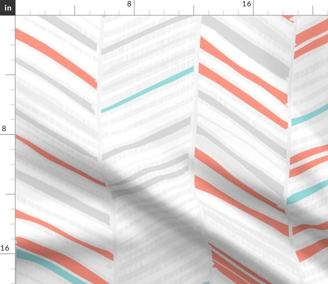 Spoonflower Fabric - Herringbone Coral Aqua Geometric Modern Baby Nursery Zigzag Chevron Printed on Fleece Fabric by The Yard - Sewing Blankets Loungewear and No-Sew Projects