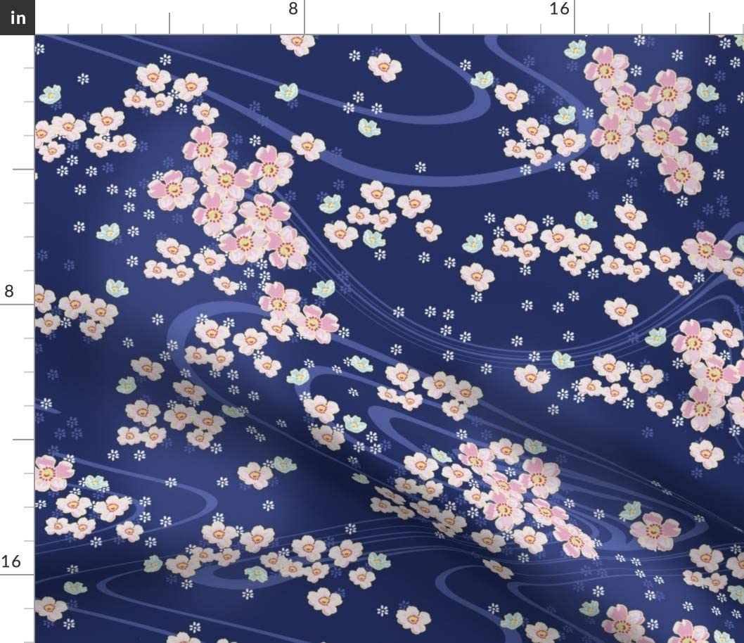 Spoonflower Fabric - Japanese Navy White Blue Ink Pink Flowers Garden Cherry Blossoms Printed on Silky Faille Fabric by The Yard - Sewing Lining Apparel Fashion Accessories