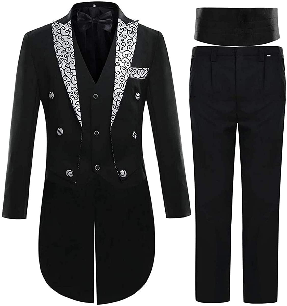Cloudstyle Mens Tailcoat 3 Piece Dress Suit Slim Fit Swallowtail Tux Jacket & Pants & Vest