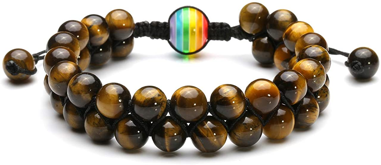 Jovivi Men Women Double Layer Beaded Bracelet Rainbow LGBT Relationship Couples Bracelets Hematite Tiger Eye Lava Rock Natural Stone Yoga Beads Adjustable Braided Rope