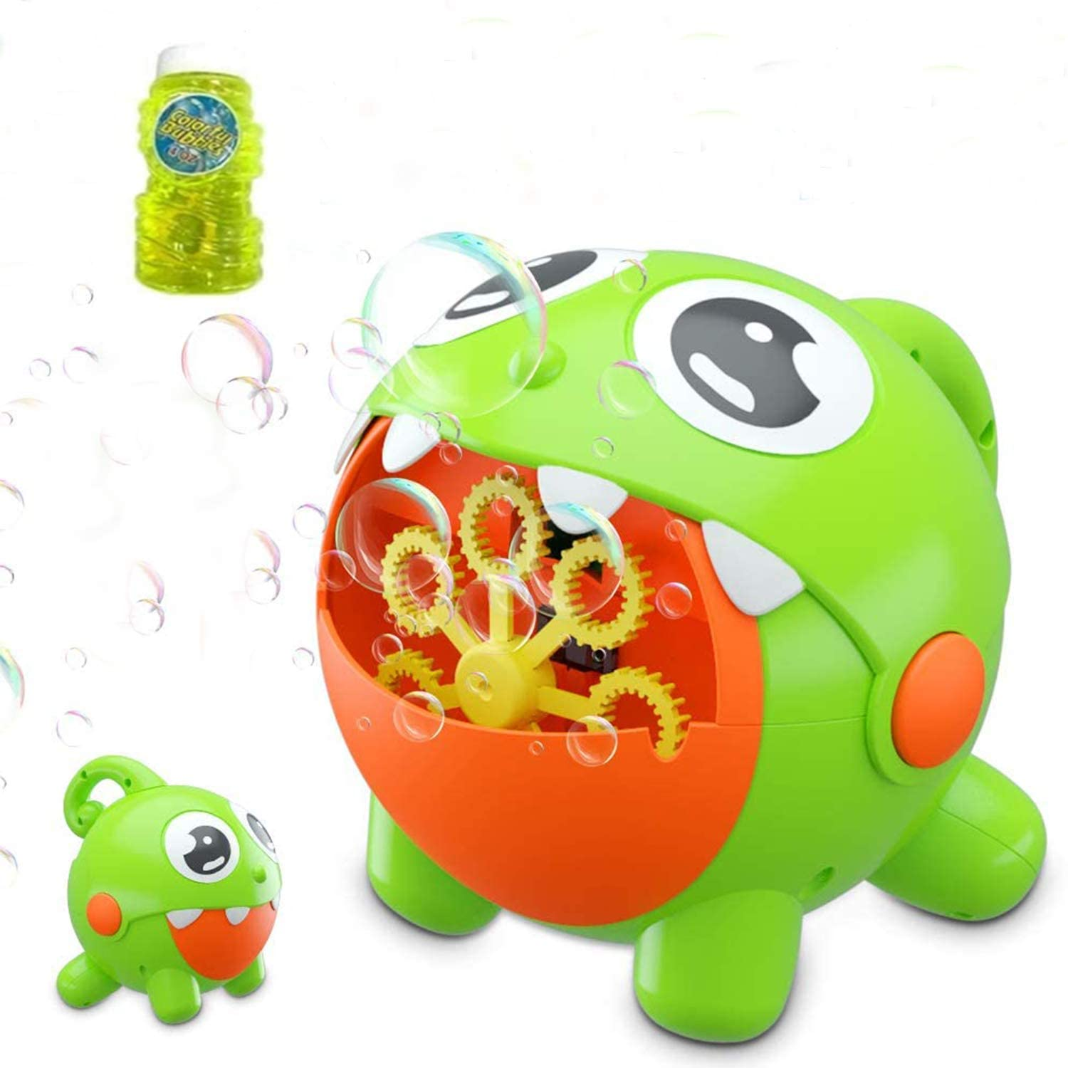 Aqiku Bubble Machine, Automatic Dinosaur Bubble Blower for Kids Toddler Built-in Rechargeable Battery Bubble Maker 3000 Bubbles Per Minute Bubble Toys for Boys Girls Party Birthday Wedding Baby Bath