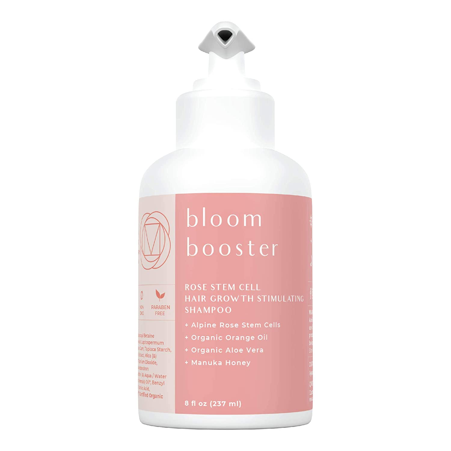 Ayadara Bloom Booster Rose Stem Cell Hair Growth Stimulating Shampoo (8 fl oz) - Organic, Sulfate Free, Natural Hair Growth Shampoo Serum for Hair Loss with Coconut Oil and Aloe Vera for Men and Women