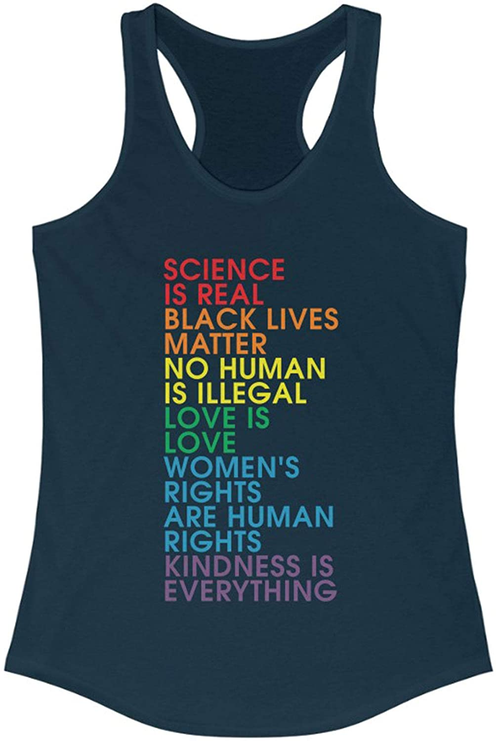 Science is Real Black Lives Matter Justice Equality Love Woman Rights Tank Top for Women