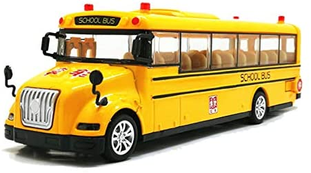 Parts & Accessories 1:50 Scale Alloy Pull Back Car Model School Bus Model Toy 3 Open Doors with Sound Light for Kids Toy - (Color: Yellow)