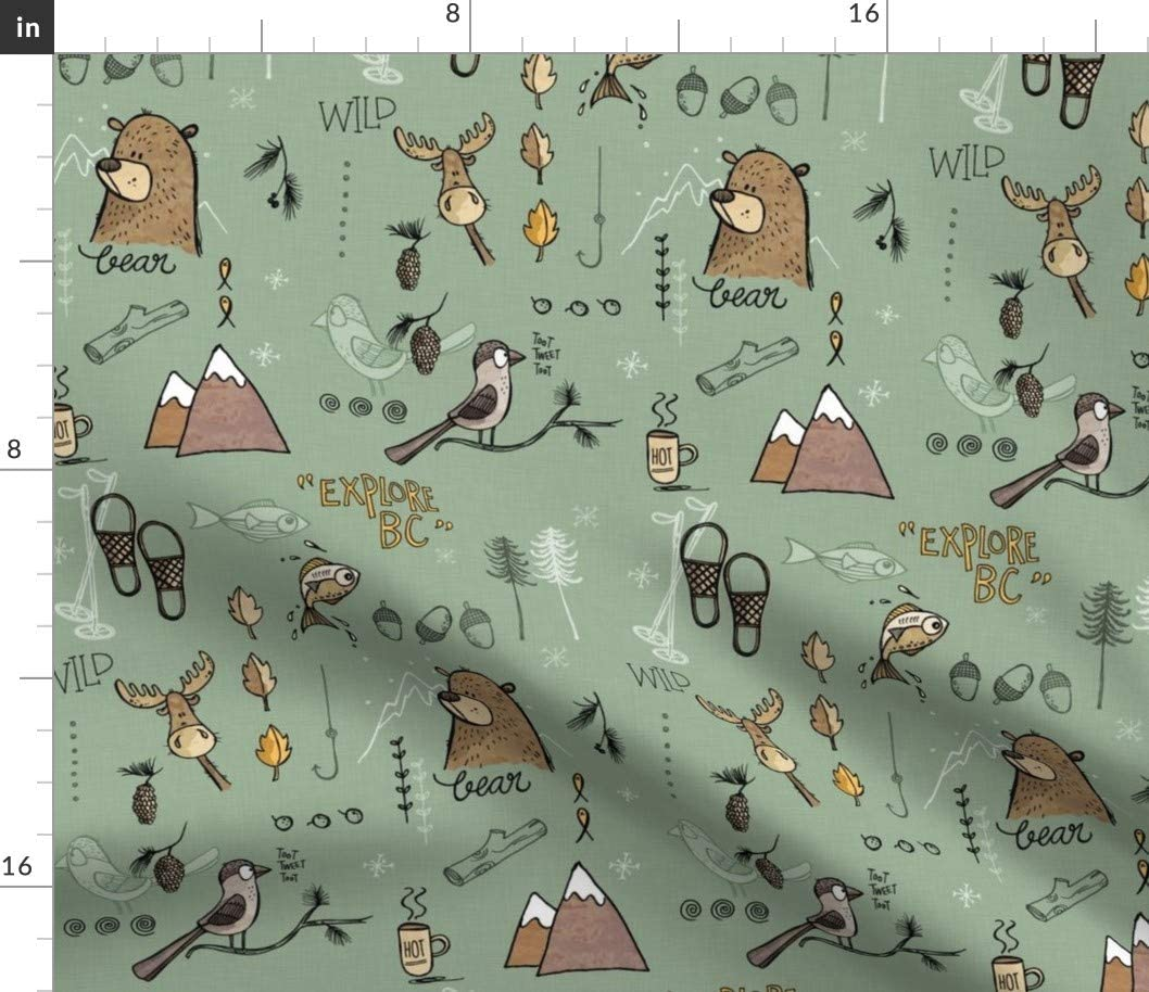 Spoonflower Fabric - Explore Mountains Green Bear Adventure Fishing Wilderness Skiing Moose Printed on Organic Cotton Sateen Fabric by The Yard - Sewing Quilting Apparel Home Decor