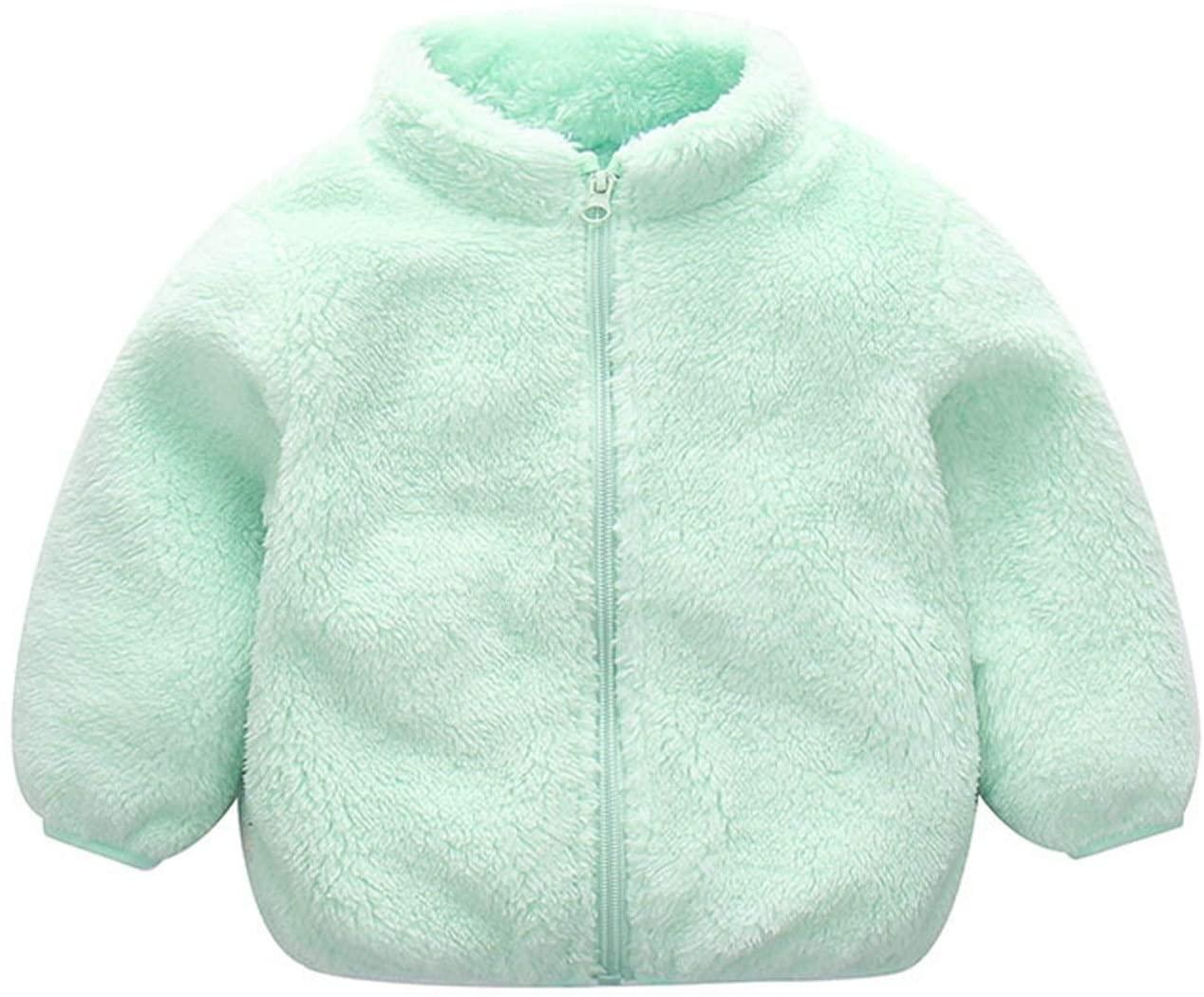 WICHENG 2020 Autumn Winter Baby Fleece Jacket Plus Velvet Warm Infant Girl Coat 0-6 Years Kids Toddler Boy Outerwear Newborn Coat (Color : Sky Blue, Kid Size : 12M)