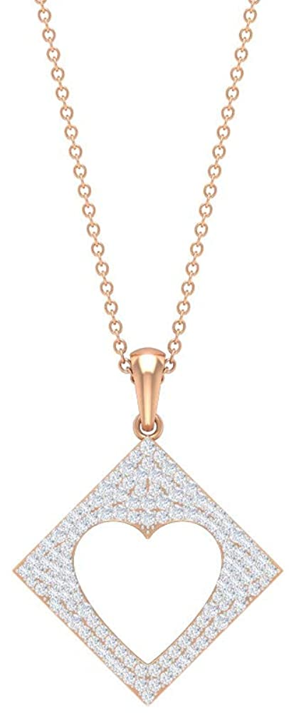 Dainty Square Shape Pendant, Open Heart Necklace, HI-SI 0.58 CT Diamond Cluster Pendant, Bridal Wedding Necklace, Forever Love Drop Pendant