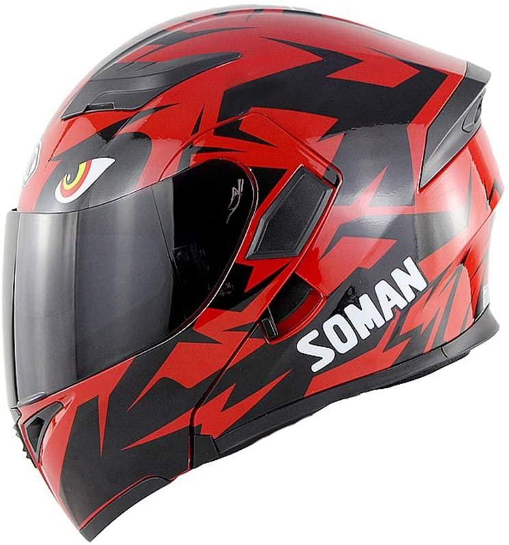 BOOM Open Face Helmet Motocross Helmet Front Flip Double Lens Anti-Glare Anti-Fog Crash Helmet Adult Motorbike Off Road Protective Gear