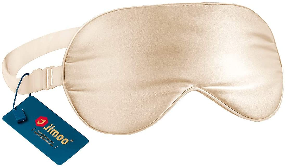 Natural Silk Sleep Mask, Super-Smooth & Soft Eye Mask with Adjustable Strap, Blindfold, Perfect Blocks Light, Pressure Free for A Full Night's Sleep (Champagne)