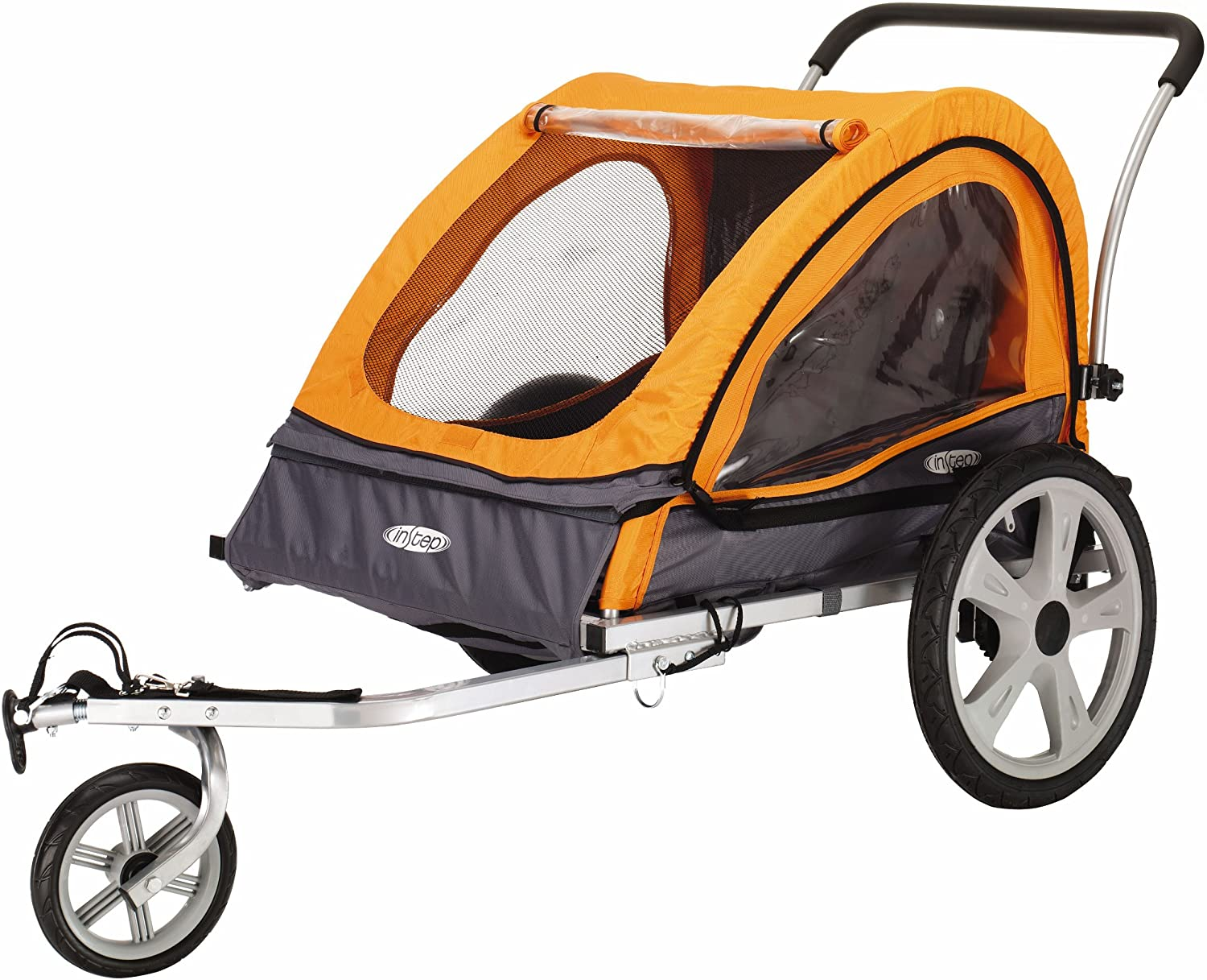 Instep Quick-N-EZ Double Tow Behind Bike Trailer for Toddlers, Kids, Converts to Stroller, Jogger, 2-in-1 Canopy, Universal Bicycle Coupler, Folding Frame, Multiple Colors