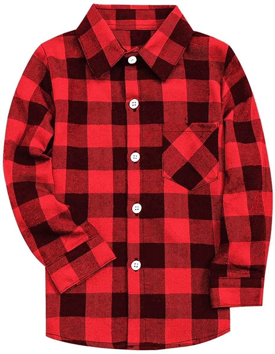 SANGTREE Boys' & Men's Plaid Flannel Button Down Shirt, 3 Months - Men 3XL