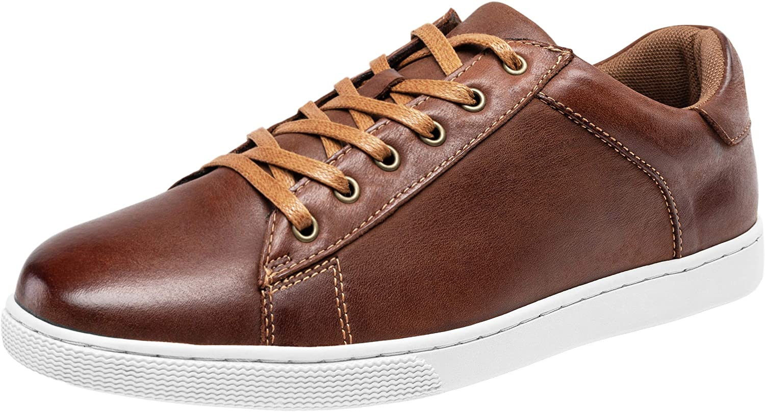 JOUSEN Men's Sneakers Leather Casual Shoes Breathable Business Casual Oxford Fashion Sneaker