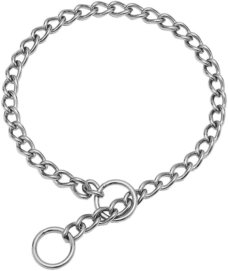 SGODA Chain Dog Training Choke Collar, 304 Stainless Steel