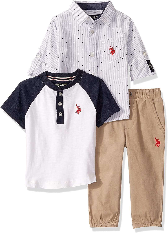 U.S. Polo Assn. Boys' Long Sleeve Woven, Henley T-Shirt, and Jogger Set