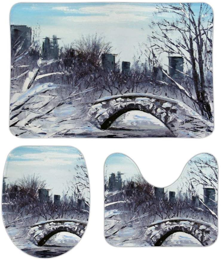 3pcs New York Art Central Park Landscape Bathroom Mat Set,U Shape Bathrooms Carpets Toilet Rugs Non-Slip Absorbent Bath Rugs Mats,Bathroom Accessories,Bathroom Decor