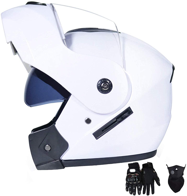 ZiFei Modular Flip-Up Motorcycle Helmet with Double Visor Adult & Youth Full Face Helmet with Gloves, Motocross Helmet Motorbike Crash Helmet,White,XL