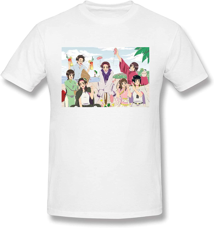 Dhfrends Hetalia Mens Comfortable Short Sleeve Shirts Crew Neck Personality Fashion T-Shirt Black