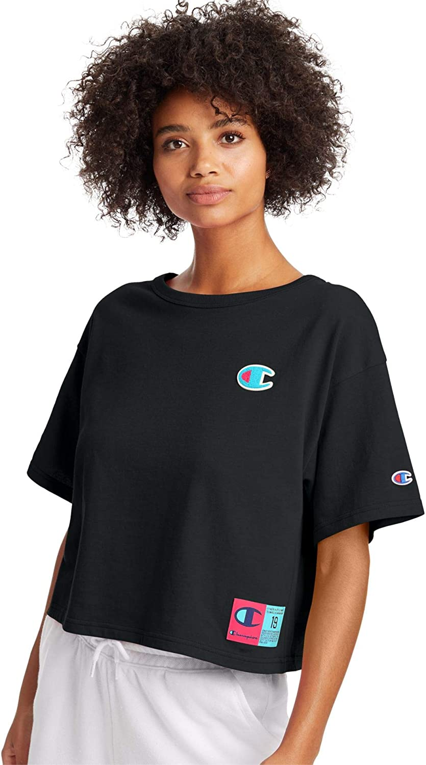 Champion Life Womens Heritage Crop Tee, XS, Cartoon Yellow