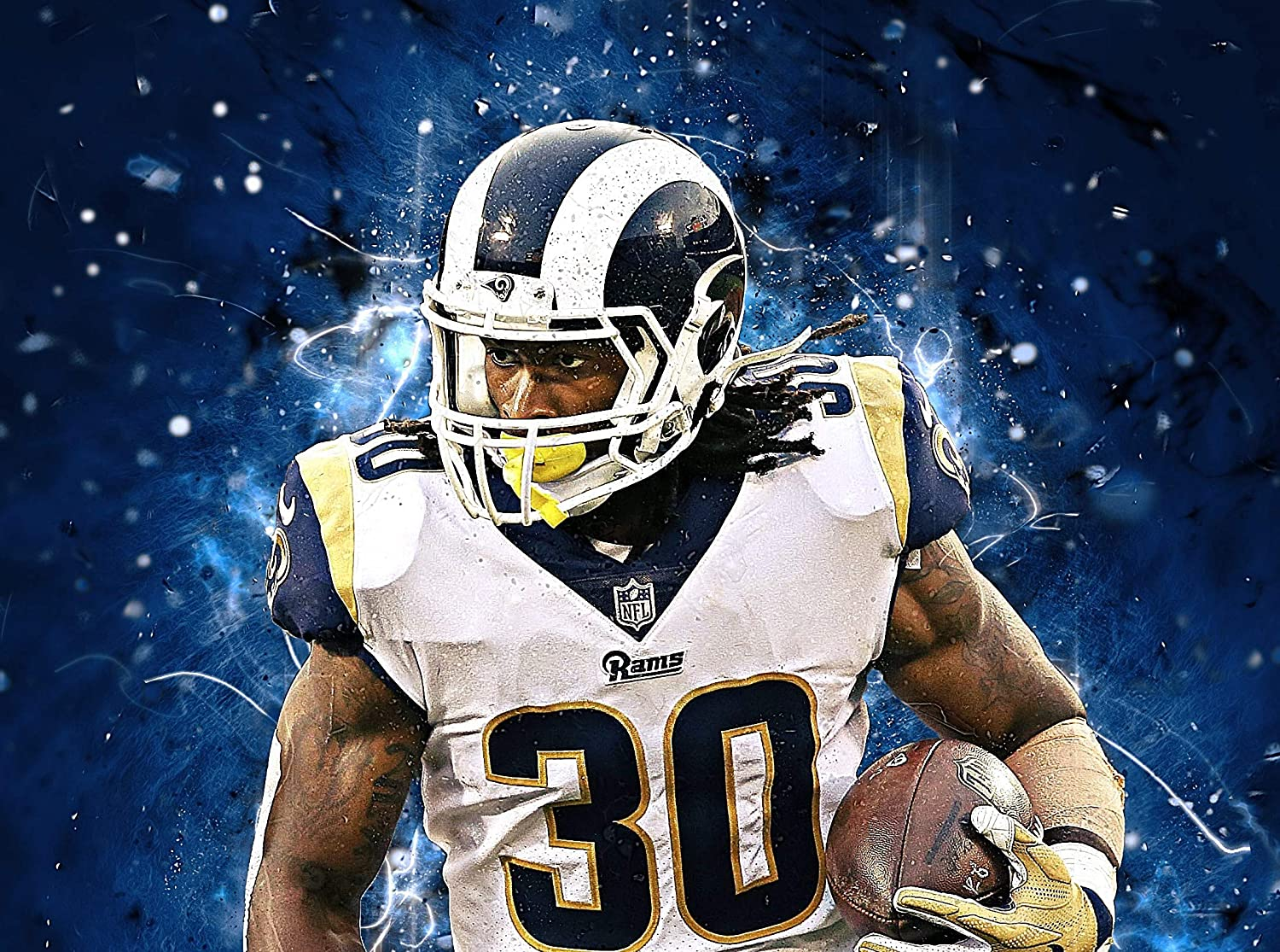 Todd Gurley Poster Print, American Football Player, Artwork, Posters for Wall, Canvas Art, Wall Art, Todd Gurley Decor, No Frame Poster Size 24 x 32 Inches