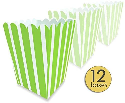 AoneFun Set of 12 - Green Popcorn Boxes Colorful Medium - Large - Striped Popcorn Boxes - Candy Containers - Favor Boxes - Carnival - Movie Night - Bulk Value Pack