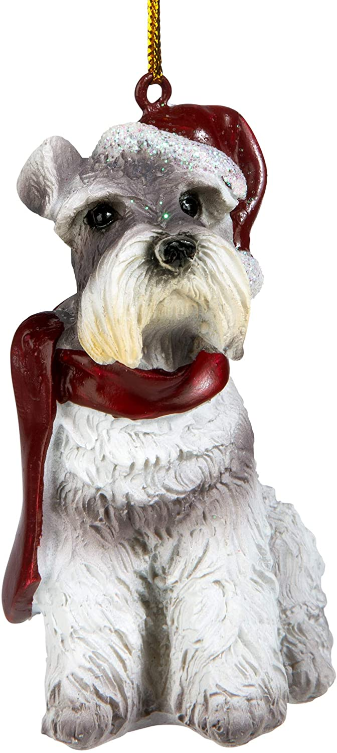 Design Toscano JH576317 Christmas Xmas Miniature Schnauzer Holiday Dog Ornaments, full color