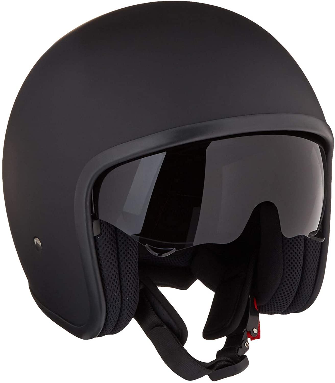 Westt Vintage Motorcycle Helmet - Open Face Helmet Retro Style for Motorcycle Scooter Moped with Sun Visor DOT Certified (Matte Black)
