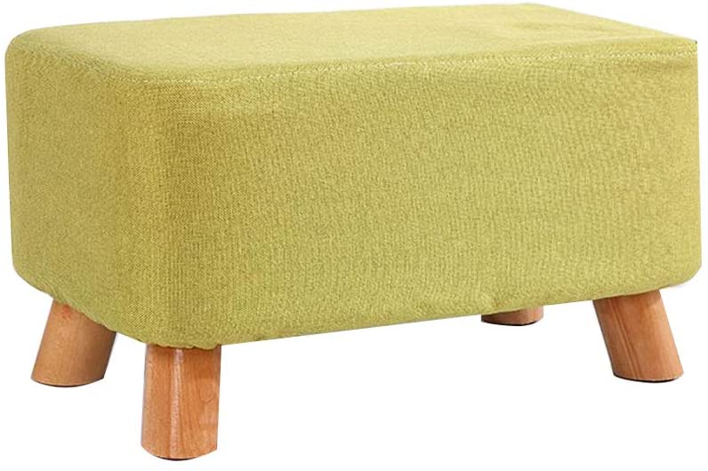 LXLXCS Small Footstools Change Shoe Bench Small Stool Cloth Solid Wood Living Room Sofa Stool Multiple Sizes (Color : Green 50cm)